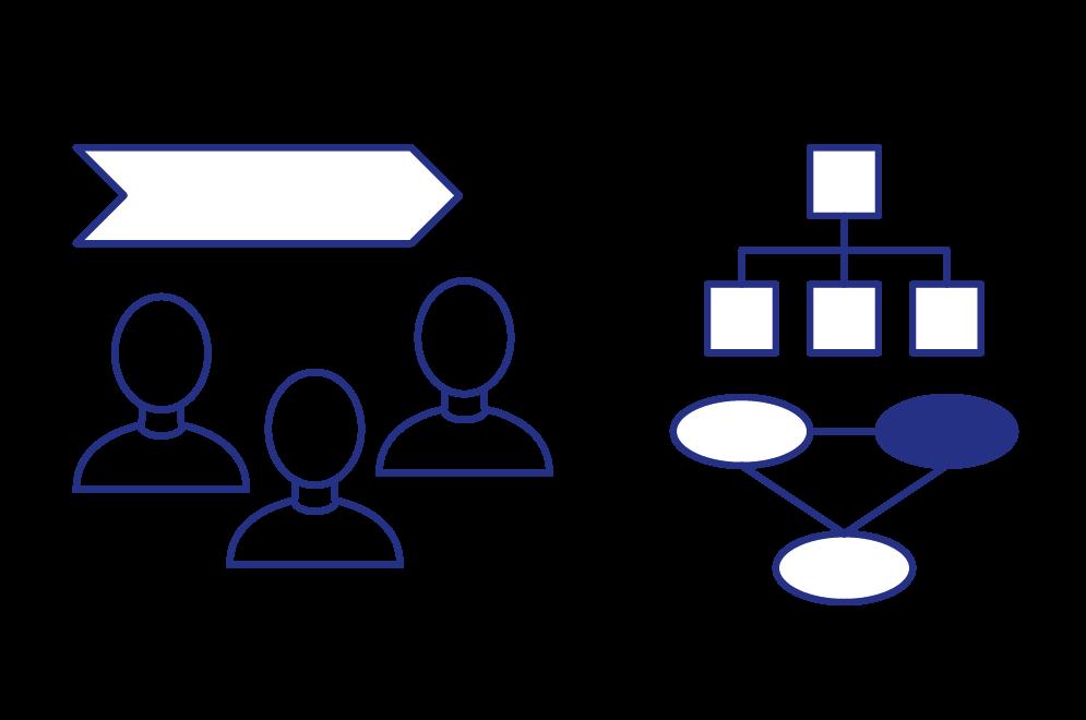 Eine Grafik, die Prozess- & Organisations-Optimierungen veranschaulicht